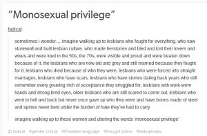 "4thWaveNow — ""Monosexual privilege"""