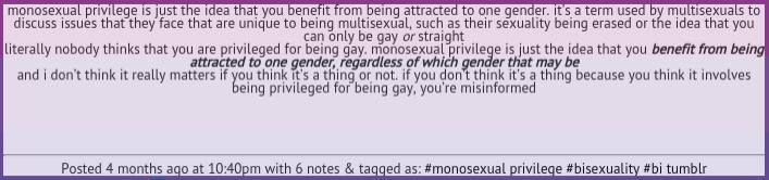 Monosexual privilege checklist