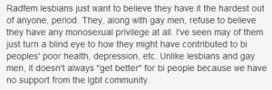Radfem lesbians and monosexual privilege